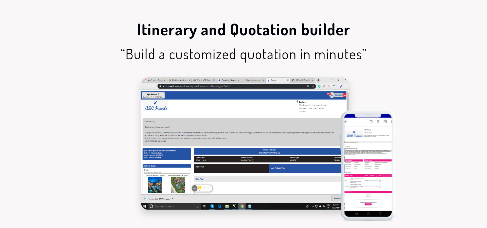 Itinerary and Quotation Builder